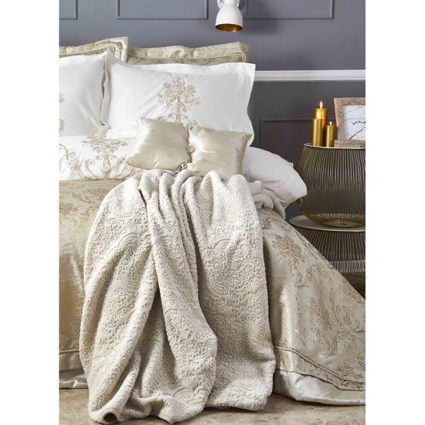 купить Постельное белье с покрывалом и пледом Karaca Home - Mihrimah gold 2020-2 Золотой Бежевый фото