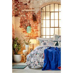 купить Постельное белье с покрывалом Karaca Home - Aybala bordo 2020-2 Синий фото