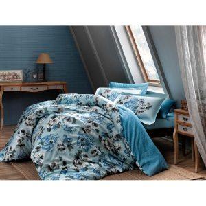 купить Постельное белье TAC сатин Digital - Barock V1 mavi Голубой фото