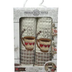 купить Набор кухонных полотенец Mercan вафельных Premium Baltic Textile Coffee Heart 50*70 2 шт