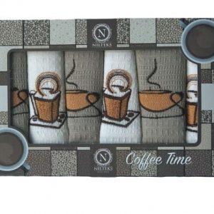 купить Набор кухонных полотенец Nilteks Coffee Time V07 40*60 6 шт