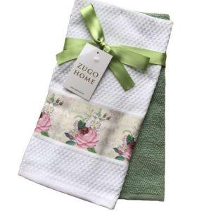 купить Набор кухонных полотенец Zugo Home Rose 40*60 2 шт Зеленый