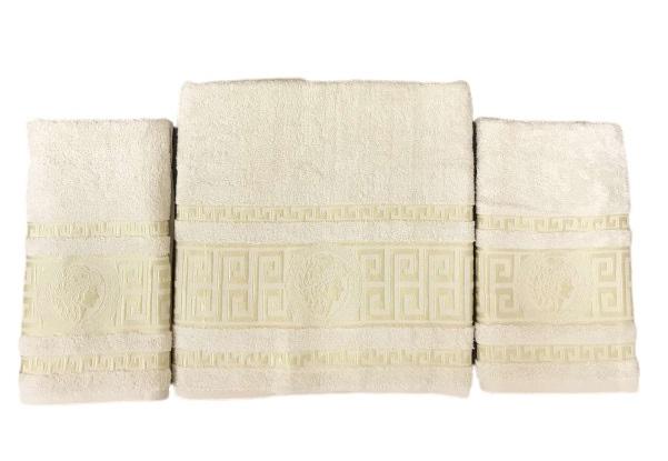 купить Набор махровых полотенец Gold Soft Life Версаче 50*90(2 шт) и 70*140 Бежевый