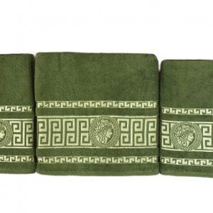купить Набор махровых полотенец Gold Soft Life Версаче 50*90(2 шт) и 70*140 Зеленый