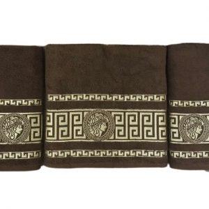 купить Набор махровых полотенец Gold Soft Life Версаче 50*90(2 шт) и 70*140 Коричневый