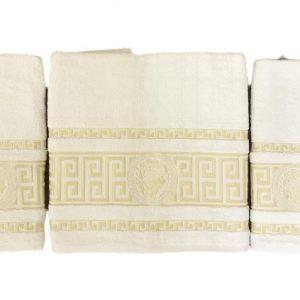 купить Набор махровых полотенец Gold Soft Life Версаче 50*90(2 шт) и 70*140 Кремовый