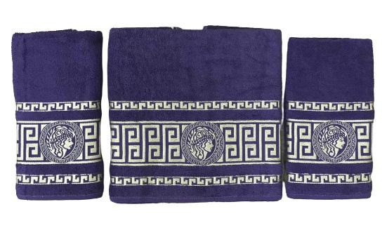 купить Набор махровых полотенец Gold Soft Life Версаче 50*90(2 шт) и 70*140 Фиолетовый