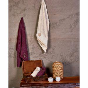 купить Набор полотенец Karaca Home - Fronda Murdum-Bej 2020-2