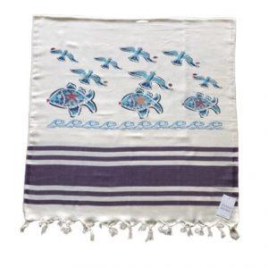 купить Пляжное полотенце Zugo Home Рыбки и Чайки 80*170 Фиолетовый