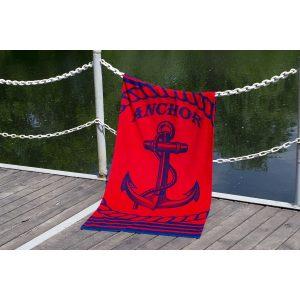 купить Полотенце Lotus пляжное - Anchor New велюр красный