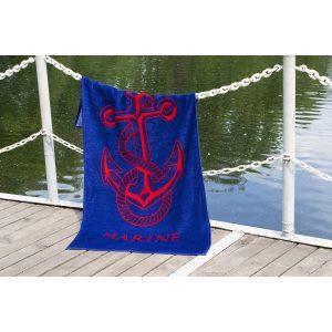 купить Полотенце Lotus пляжное - Anchor New велюр синий