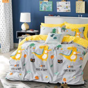 купить Постельное белье Bella Villa Сатин B-0239 Серый|Желтый фото