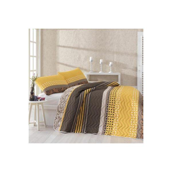 купить Покрывало стеганное с наволочкой Eponj Home - Miranda Sari желтый 160*220