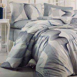 купить Постельное белье Zugo Home ранфорс Zeus V4 Серый| Голубой фото