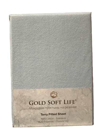 купить Простынь махровая на резинке Gold Soft Life Terry Fitted Sheet Голубой