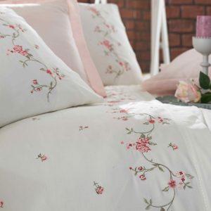 купить Постельное белье сатин делюкс с вышивкой Dantela ROSA KREM Розовый фото
