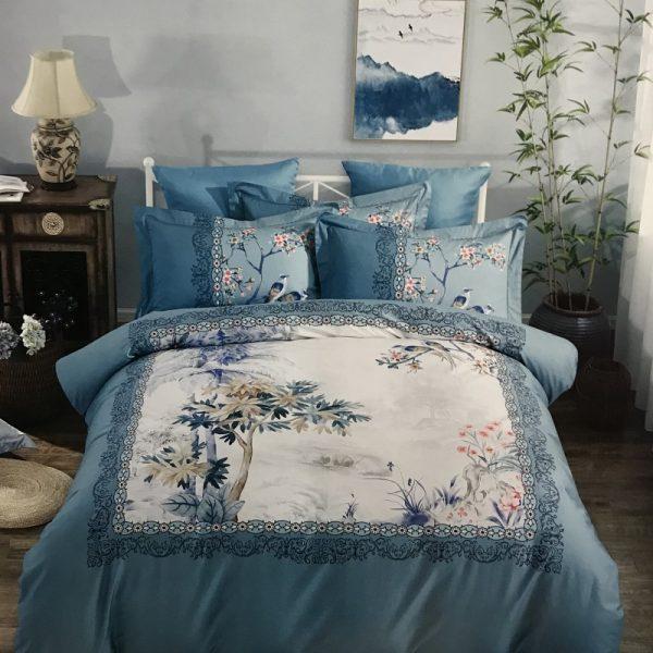 купить Постельное белье сатин 40s принт 94927 Голубой фото