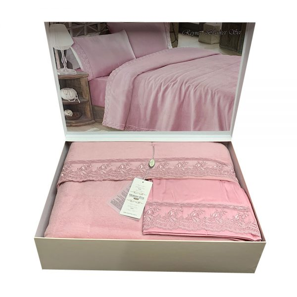 купить Постельное белье с пледом Maison Dor Reyna Розовый фото