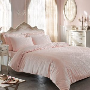 купить Постельное белье TIVOLYO HOME JACQUARD BAMBURA PEMBE Розовый фото