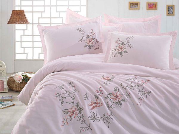 купить Постельное белье cатин делюкс с вышивкой Dantela Vita ACELYA NAKISLI Pudra Розовый фото