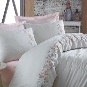 купить Постельное белье cатин делюкс с вышивкой Dantela Vita Frezya pudra Розовый фото