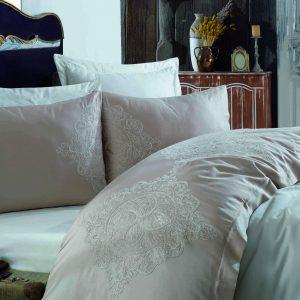 купить Постельное белье cатин делюкс с вышивкой Dantela Vita Hanzade Розовый фото