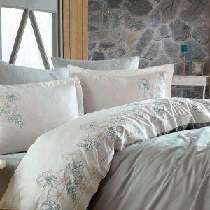 купить Постельное белье cатин делюкс с вышивкой Dantela Vita Hare maldiv Кремовый Розовый фото