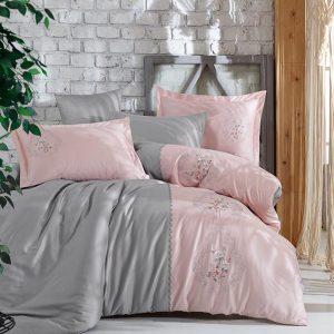 купить Постельное белье cатин делюкс с вышивкой Dantela Vita Isabella Серый Розовый фото