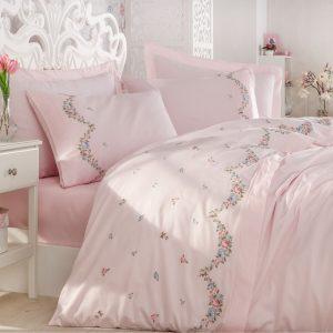 купить Постельное белье cатин делюкс с вышивкой Dantela Vita Lara pudra Розовый фото