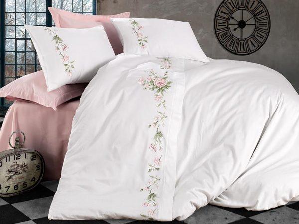 купить Постельное белье Сатин Dantela Vita SARA Розовый|Белый фото