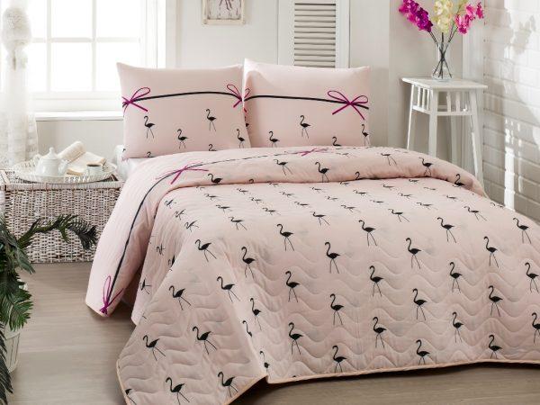 купить Покрывало стеганное с наволочкой Eponj Home - Flamingo Pudra