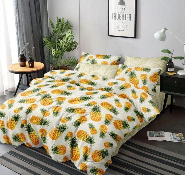 купить Постельное белье Love You с ананасами поплин 203010 Оранжевый фото