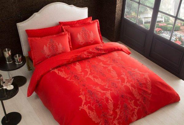 купить Постельное белье TAC сатин Delux Mauna V04 kirmizi Красный фото
