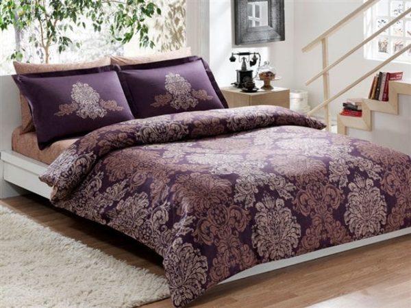 купить Постельное белье TAC сатин Delux Pavona V07 mor Фиолетовый фото