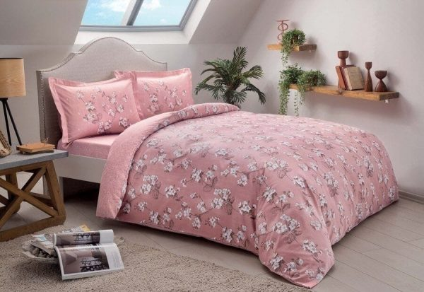 купить Постельное белье TAC сатин Lennie V01 pembe Розовый фото