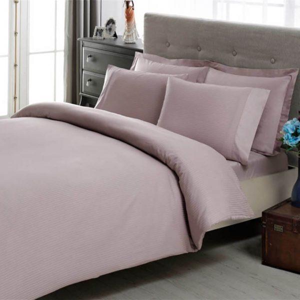 купить Постельное белье TAC сатин Premium Basic Stripe Lila Розовый фото
