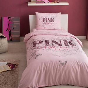 купить Подростковое постельное белье TAC ранфорс Pink V51 Pembe Розовый фото