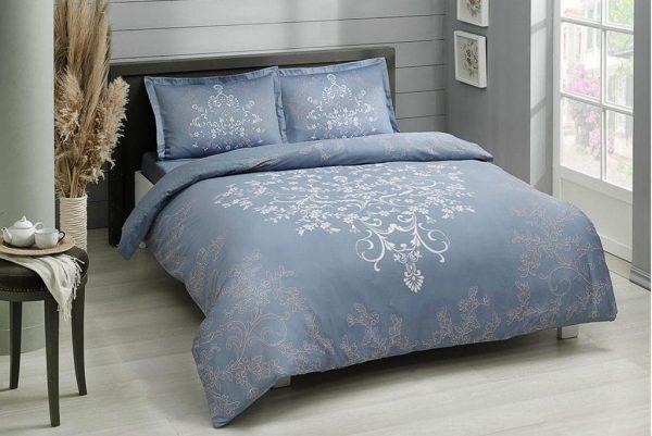 купить Постельное белье TAC сатин Anissa V03 mavi Голубой фото