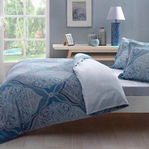 купить Постельное белье TAC сатин Yasmin V01 turkuaz Голубой фото