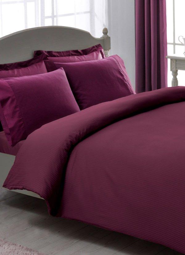 купить Постельное белье TAC Premium Basic Stripe murdum плюс Фиолетовый фото