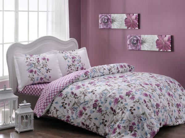 купить Постельное белье TAC сатин Drina V02 mavi Розовый фото