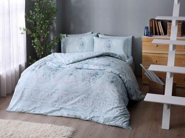 купить Постельное белье TAC ранфорс Briana V05 turkuaz Голубой фото