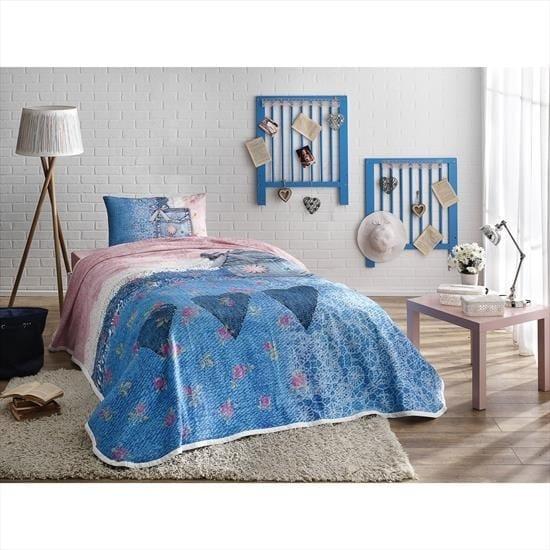 купить Постельное белье с пике TAC Lacy V01 mavi Голубой фото