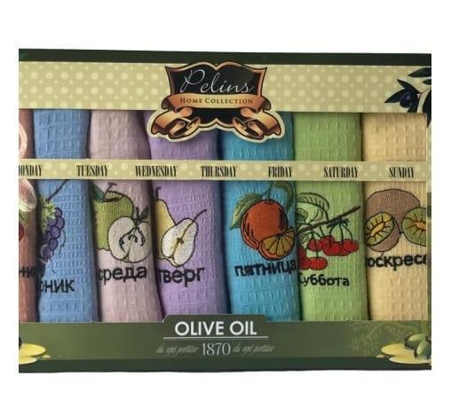 купить Набор кухонных полотенец Pelins Olive oil Фрукты V04 (7 шт)