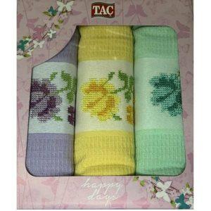 купить Набор кухонных полотенец TAC вафельный Asorti penkli (3 шт)
