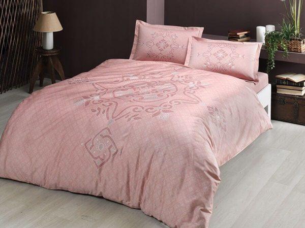 купить Постельное белье TAC сатин Bruna V01 pembe Розовый фото