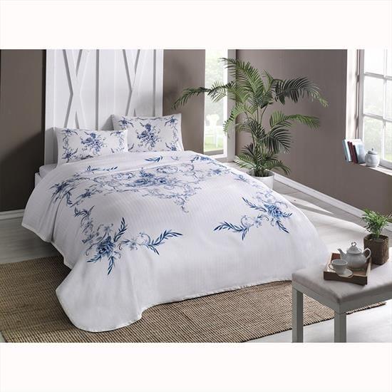 купить Постельное белье с пике TAC Lavinia V01 mavi Голубой фото