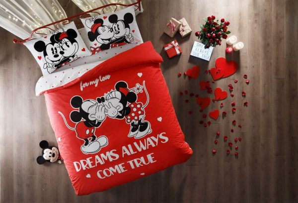 купить Молодежное светящееся постельное белье TAC Disney Любовь Красный фото