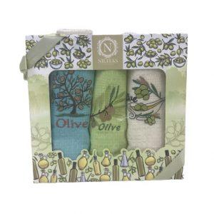 купить Набор кухонных полотенец Nilteks Lux Оливки V2 (3 шт)