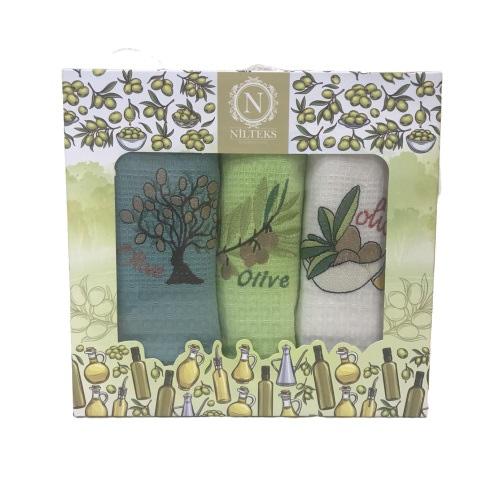 купить Набор кухонных полотенец Nilteks Lux Оливки V1 (3 шт)